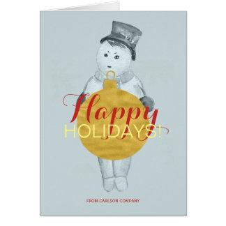 Cartão Feriado feliz vermelho do boneco de neve azul do