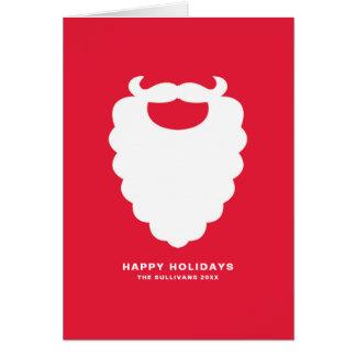 Cartão Feriado moderno da barba vermelha e branca do