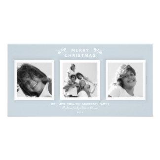 Cartão Feriado moderno simples da foto tripla azul