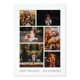Cartão Feriado pessoal da colagem de 6 fotos ou ano novo