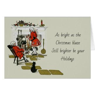 Cartão Feriado velho da lareira do Natal do Victorian do