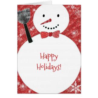 Cartão Feriado vermelho do Natal do boneco de neve do