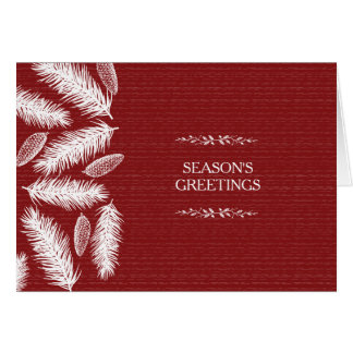 Cartão Feriado vermelho invernal do Natal de Pinecone