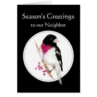 Cartão Feriado vizinho com o pássaro cor-de-rosa do