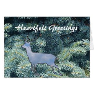 Cartão Feriados de inverno sentido da rena dos desejos