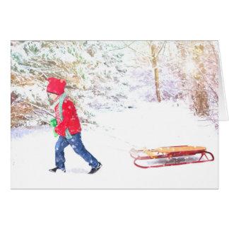 Cartão Feriados do Natal do menino do trenó do inverno da