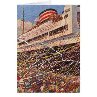 Cartão Férias do navio de cruzeiros do vintage; Partido