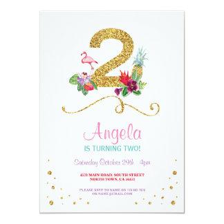 Cartão Festa de aniversário 2 do flamingo Aloha em
