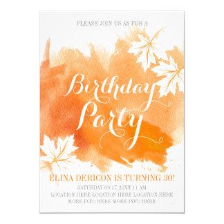 Cartão Festa de aniversário abstrata moderna da laranja