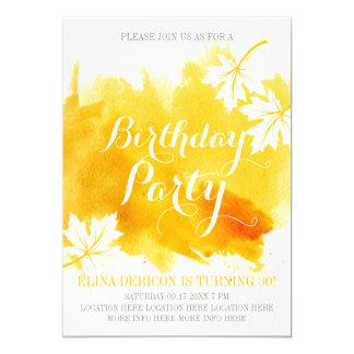 Cartão Festa de aniversário abstrata moderna do amarelo