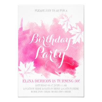Cartão Festa de aniversário abstrata moderna do rosa da