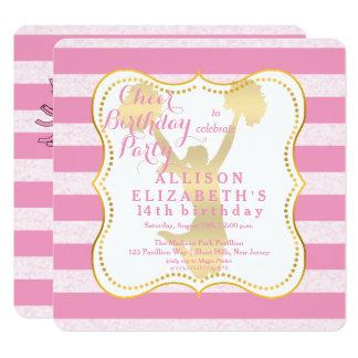 Cartão Festa de aniversário adolescente do cheerleader do