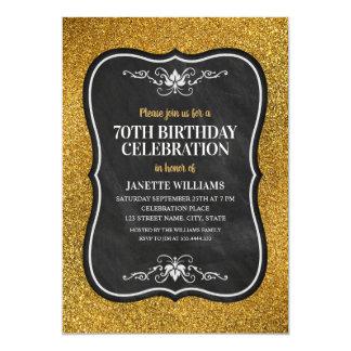 Cartão Festa de aniversário adulta do 70 do brilho
