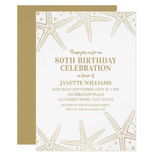 Cartão Festa de aniversário adulta do 80 da praia náutica