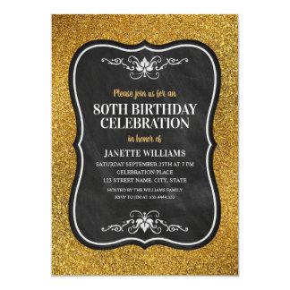 Cartão Festa de aniversário adulta do 80 do brilho