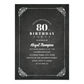 Cartão Festa de aniversário adulta do 80 do quadro do