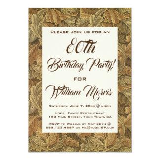 Cartão Festa de aniversário antiga das folhas de outono