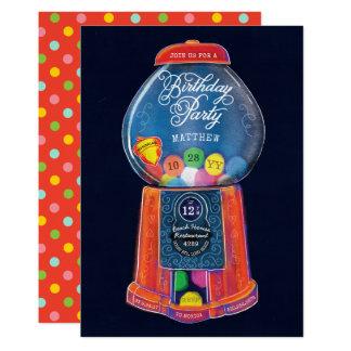 Cartão Festa de aniversário antiquado da máquina de