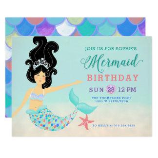 Cartão Festa de aniversário asiática da sereia da pele da