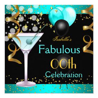 Cartão Festa de aniversário azul do ouro de Martini da