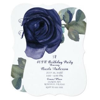 Cartão Festa de aniversário azul roxa do índigo vibrante