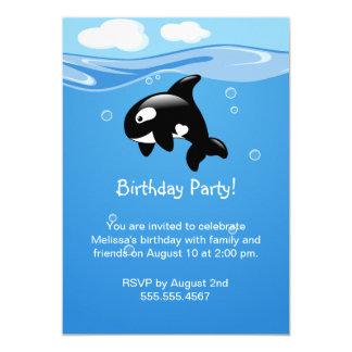 Cartão Festa de aniversário bonito da baleia da orca