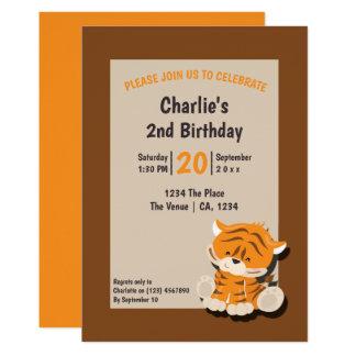 Cartão Festa de aniversário bonito do tigre personalizada