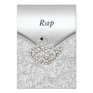 Cartão Festa de aniversário branca de prata elegante da