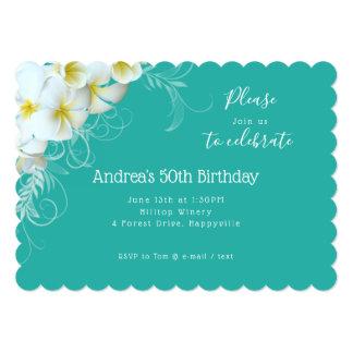 Cartão Festa de aniversário branca do azul da lagoa do