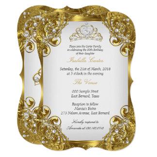 Cartão Festa de aniversário branca dourada da tiara do