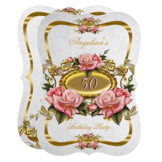 Cartão Festa de aniversário cor-de-rosa elegante do