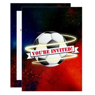 Cartão Festa de aniversário cósmica da bola de futebol