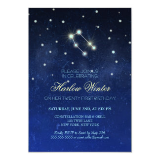 Cartão Festa de aniversário da constelação dos Gêmeos