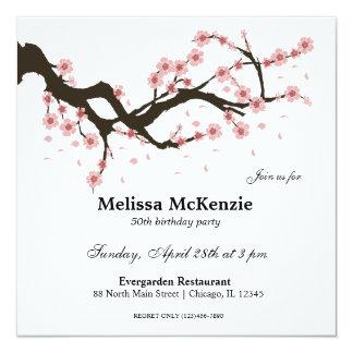 Cartão Festa de aniversário da flor de cerejeira