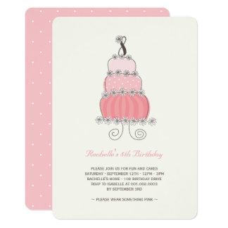 Cartão Festa de aniversário da menina cor-de-rosa
