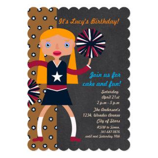 Cartão Festa de aniversário da menina dos Pompoms do