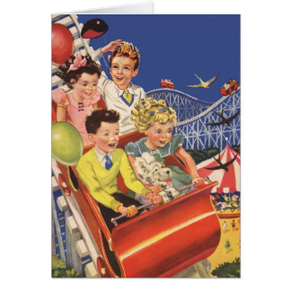 Cartão Festa de aniversário da montanha russa das