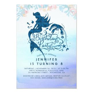 Cartão Festa de aniversário da sereia sob o mar do amor