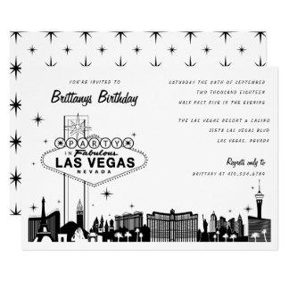 Cartão Festa de aniversário da skyline de Las Vegas ou