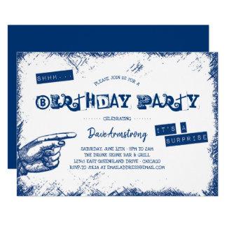 Cartão Festa de aniversário da surpresa do Grunge Shhh
