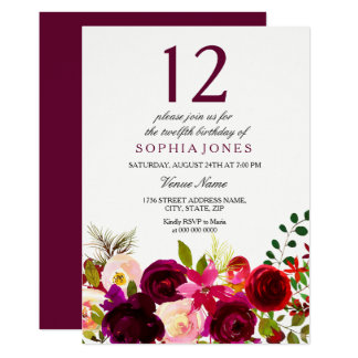 Cartão Festa de aniversário das flores de Borgonha a 12a