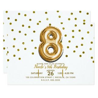 Cartão Festa de aniversário de 8 oito confetes do balão