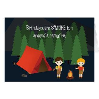 Cartão Festa de aniversário de acampamento