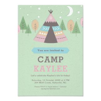 Cartão Festa de aniversário de acampamento da barraca do