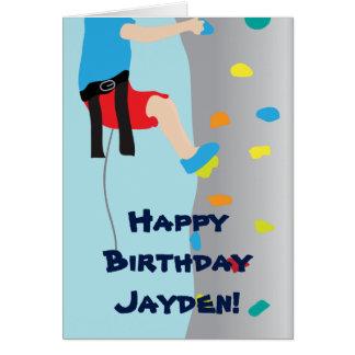 Cartão Festa de aniversário de escalada da parede da