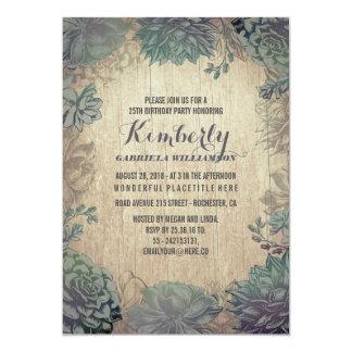 Cartão Festa de aniversário de madeira rústica dos