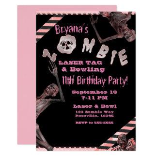 Cartão Festa de aniversario de meninas cor-de-rosa &