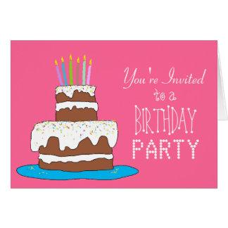 Cartão Festa de aniversario de meninas do bolo de