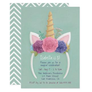Cartão Festa de aniversario de meninas floral do Hairband
