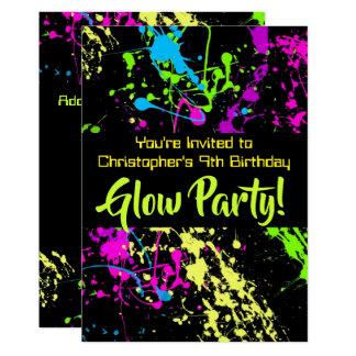 Cartão Festa de aniversário de néon do Tag de /Laser do